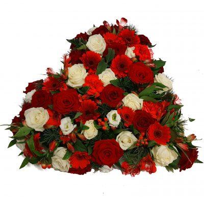 Hjerte i Dannbro farver, rød og hvid