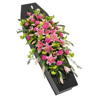 Kistepynt med pink liljer