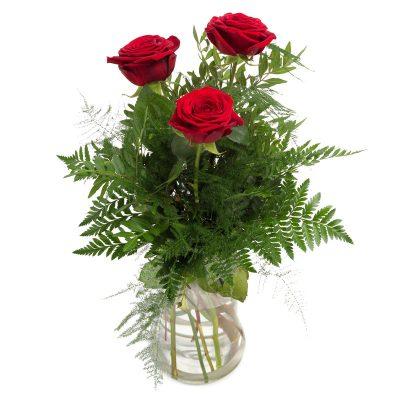 3 roser i buket tro håb og kærlighed