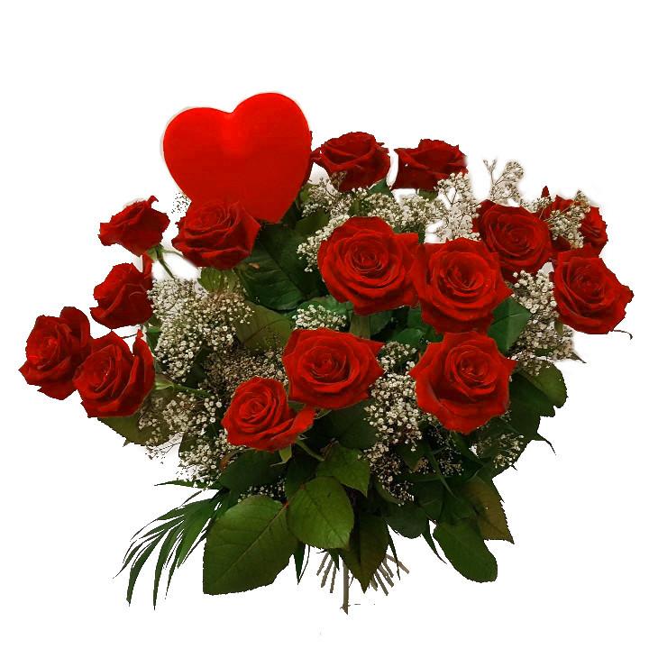 Rosenbuket med hjerte