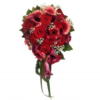 rød brudebuket med hæng