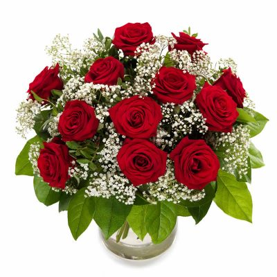 Buket med røde roser og brudeslør