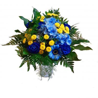 Brøndby buket, i blå og gule farver.