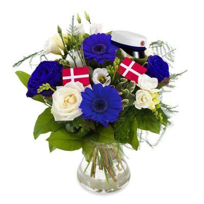 Studenterbuket i blå med flag og hue, til blå student