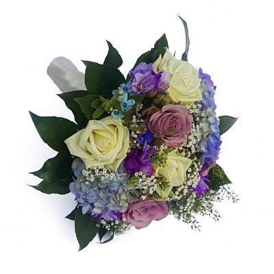Brudebuket i blå, lilla nuancer