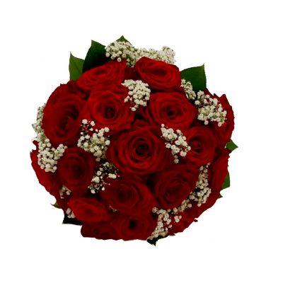 Brudebuket af røde roser med brudeslør
