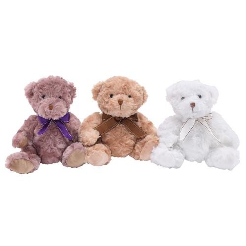 Lille bamse til nyfødt, bamse med buket
