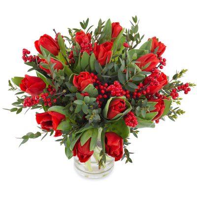 Røde tulipaner med grønt