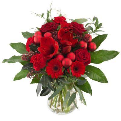 Rød rokoko julebuket