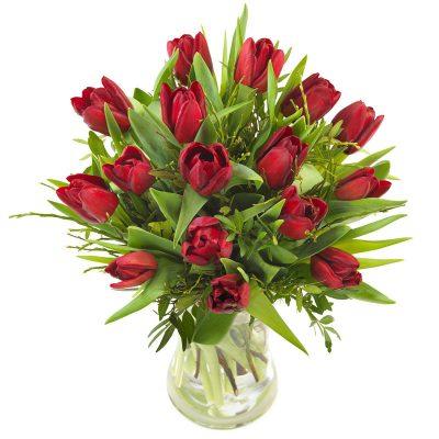 Tulipaner med grønt.