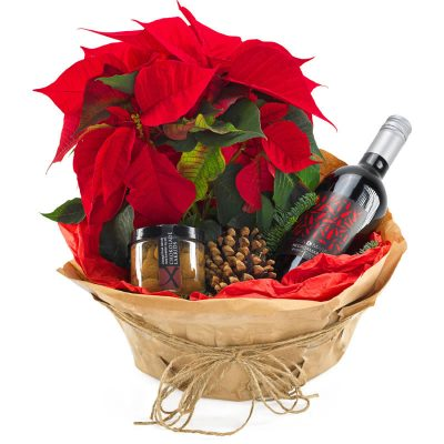 Julegodten, en pakke med blomst vin og chokolade