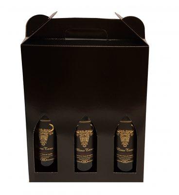send en kasse med 3 vin efter eget valg rødvin, hvidvin eller rosé