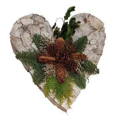 Gravpynt hjerte af bark