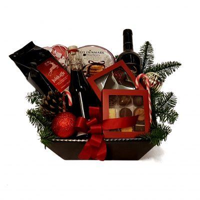 Julehumør gavekurv med julegodter, specialiteter af julens design