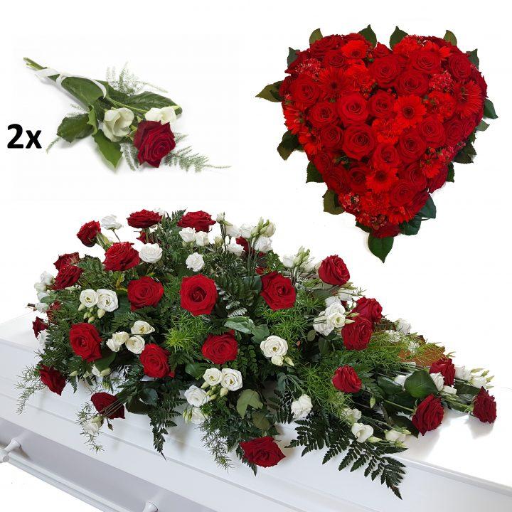 begravelses pakke med kistepynt hjerte og kasterose