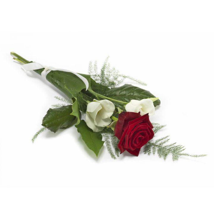 En smuk kasterose med hvide texasklokker der for rosen til at se endnu smukkere ud.