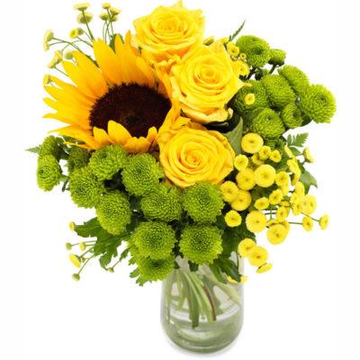 Solsikker med andre blomster i friske farver