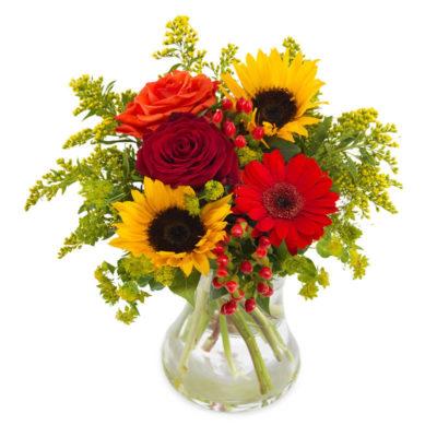 blomster buket med solsikker, røde roser, røde gerbera og andre lækre blomster til en smuk efterårs buket